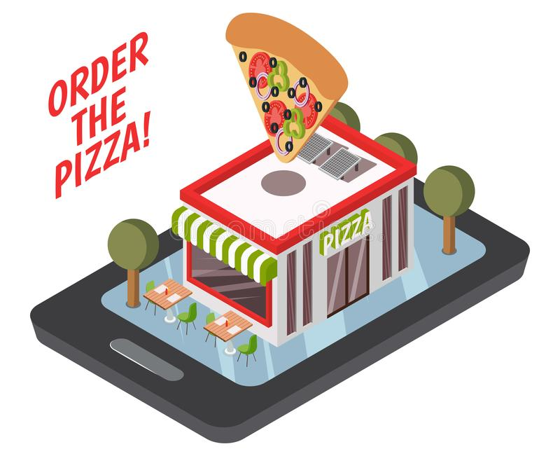 Isometrisk sammansättning för online-pizzeria stock illustrationer