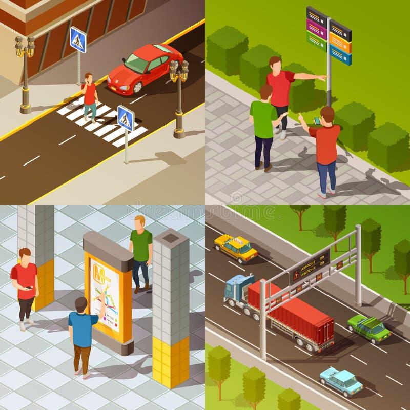 Isometrisk sammansättning för stadsnavigering royaltyfri illustrationer