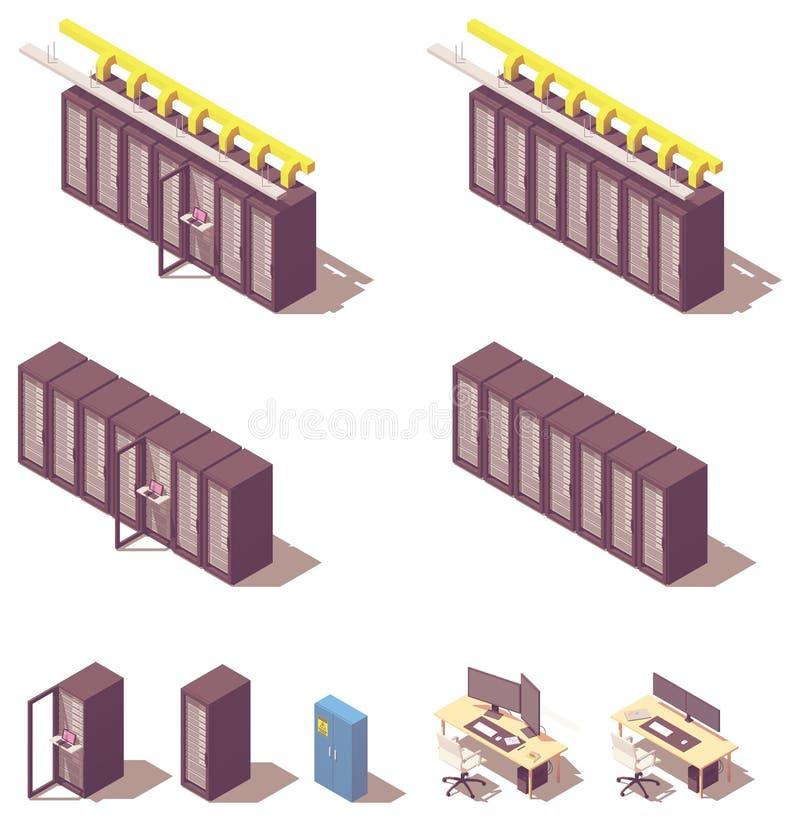 Isometrisk serverutrustning för vektor vektor illustrationer