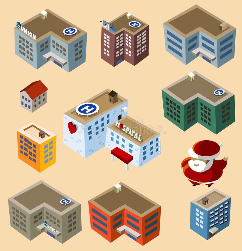 isometrisk set för byggnader stock illustrationer