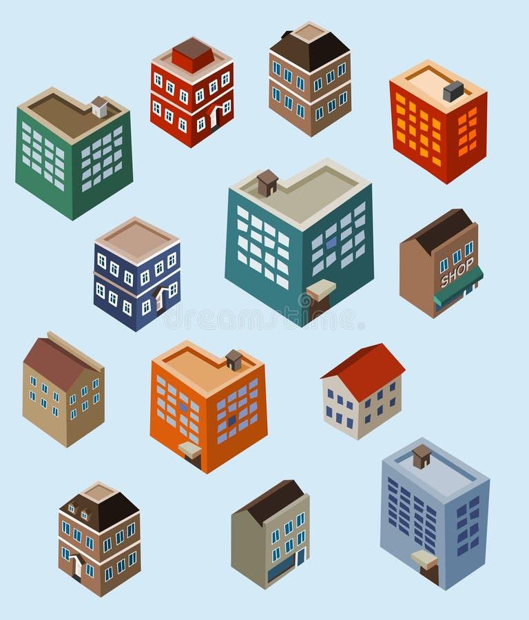 isometrisk set för byggnader royaltyfri illustrationer