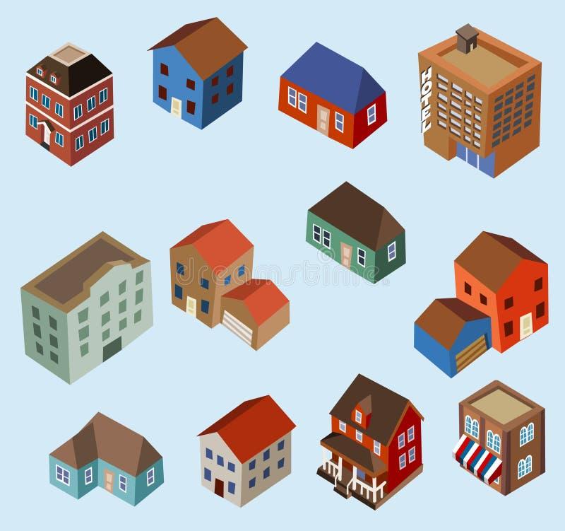 isometrisk set för byggnader vektor illustrationer
