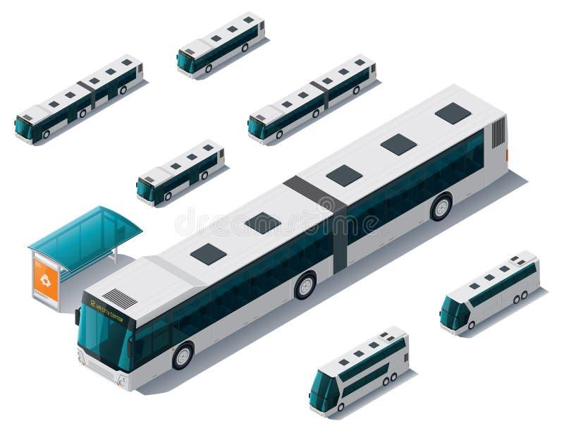 isometrisk setvektor för buss royaltyfri illustrationer