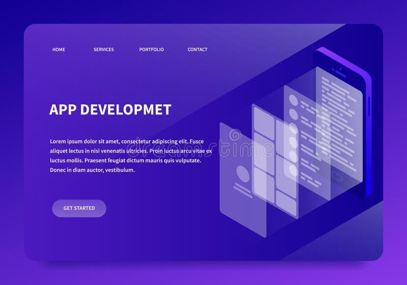 Isometrisk sida för App-utvecklingslandning stock illustrationer