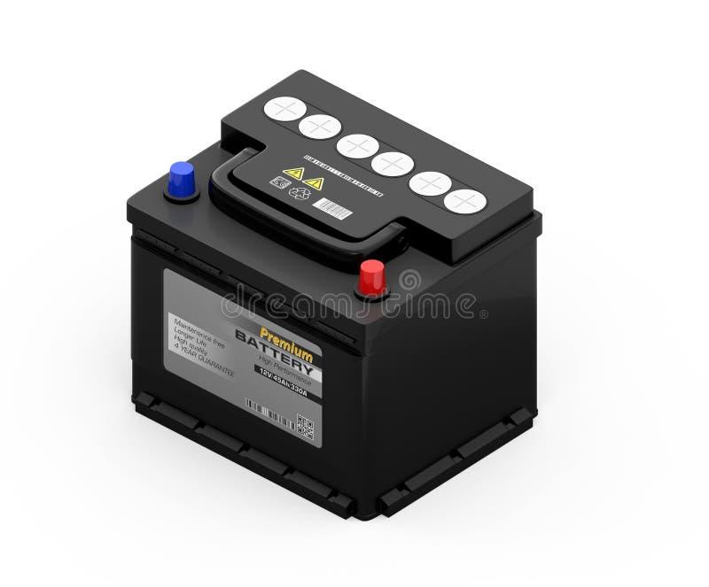 Isometrisk sikt av det generiska underhåll-fria bilbatteriet som isoleras på vit bakgrund arkivfoto