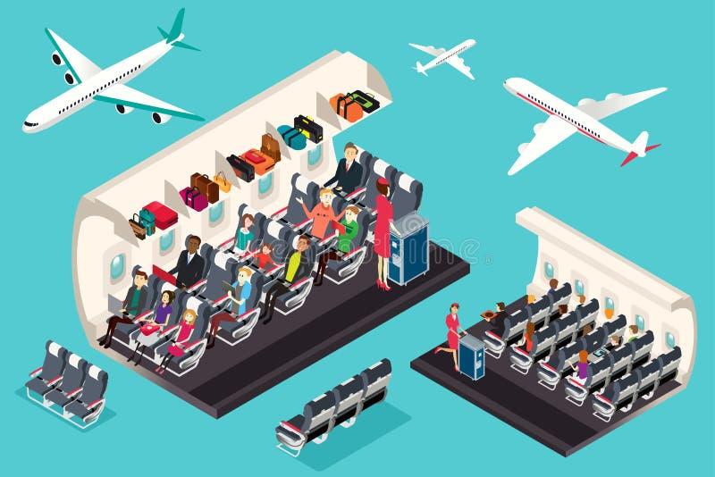 Isometrisk sikt av inre av en flygplanillustration royaltyfri illustrationer