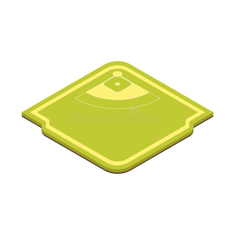 Isometrisk sikt för fotboll- eller baseballspelplanbegrepp 3d vektor royaltyfri illustrationer