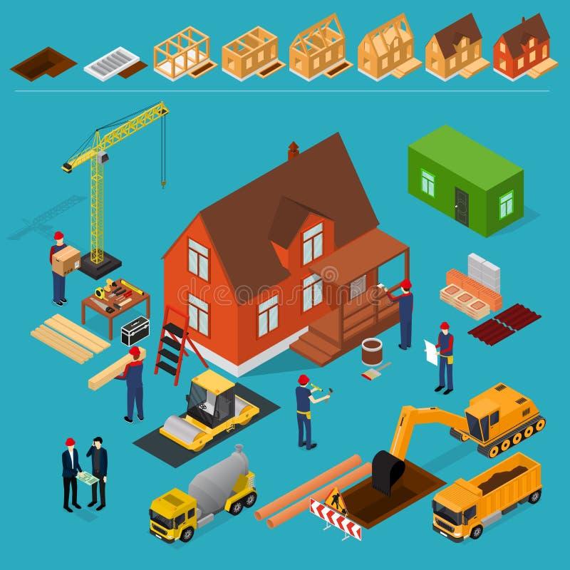 Isometrisk sikt för konstruktionsbyggnadsbegrepp 3d vektor stock illustrationer
