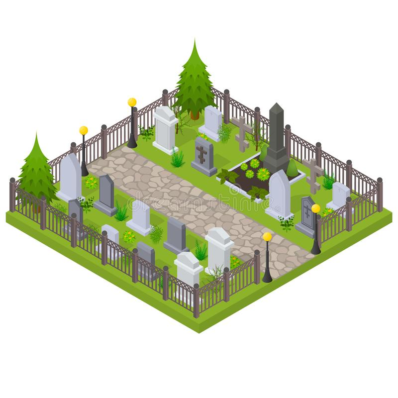 Isometrisk sikt för kyrkogårdbegrepp 3d vektor stock illustrationer