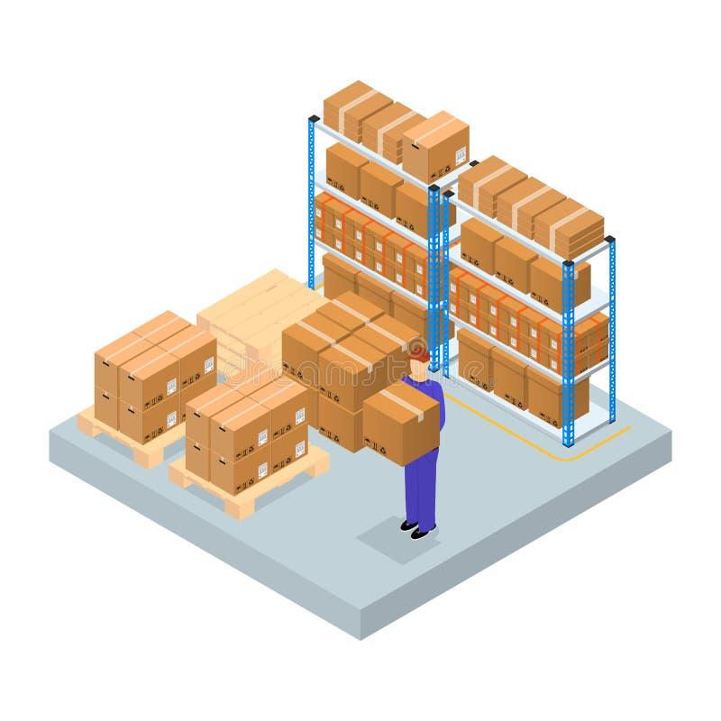 Isometrisk sikt för logistisk serviceaffärsidé vektor stock illustrationer