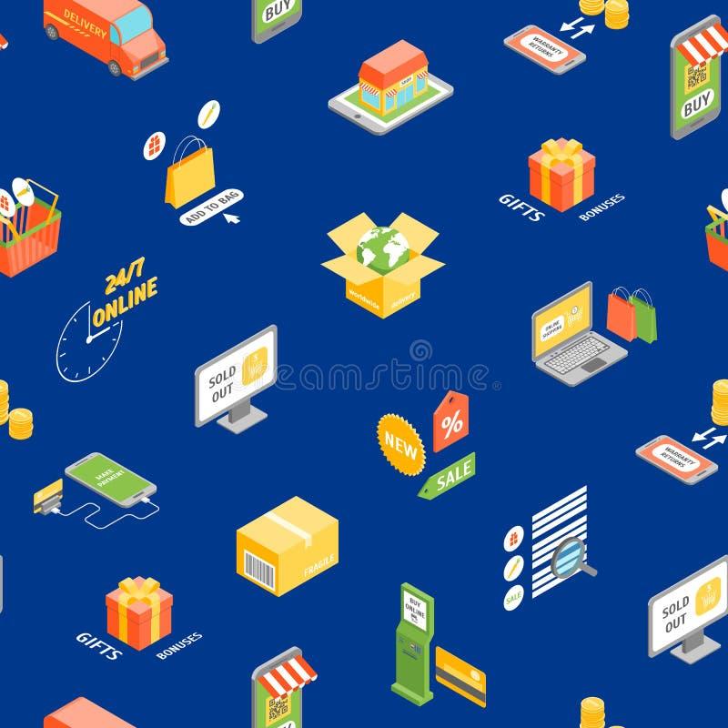 Isometrisk sikt för online-sömlös modellbakgrund för shopping vektor royaltyfri illustrationer