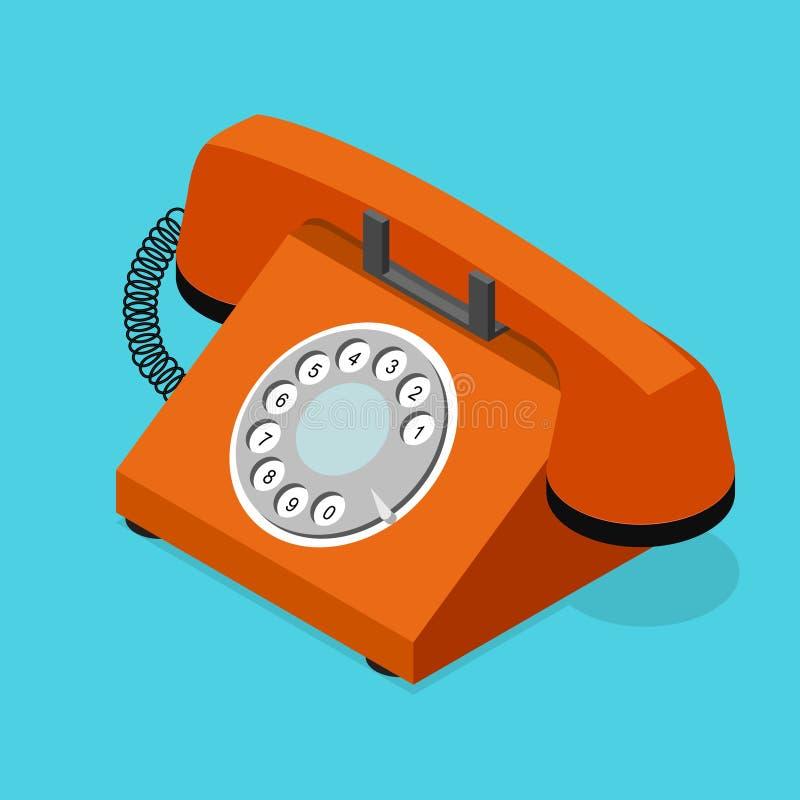 Isometrisk sikt för röd gammal telefon vektor royaltyfri illustrationer