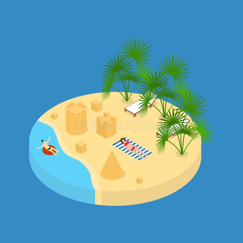 Isometrisk sikt för strandsemesterbeståndsdel 3d vektor royaltyfri illustrationer