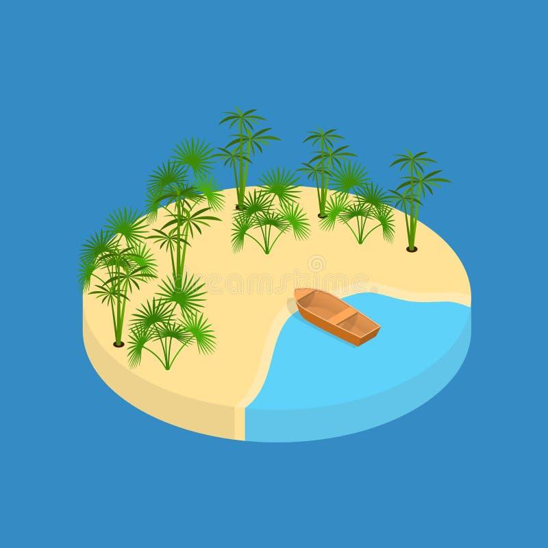 Isometrisk sikt för strandsemesterbeståndsdel 3d vektor stock illustrationer