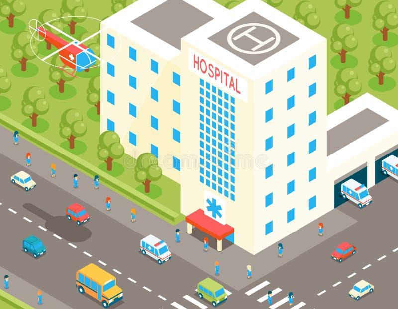 Isometrisk sjukhus- och ambulansbyggnad med stock illustrationer