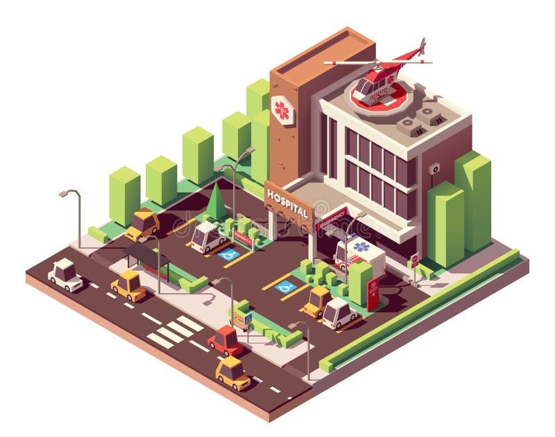 Isometrisk sjukhusbyggnad för vektor royaltyfri illustrationer