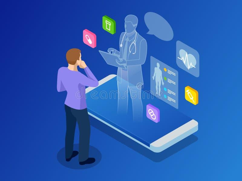 Isometrisk sjukvård, diagnostik och online-medicinsk konsultation app på smartphonen Digital vård- begrepp med a royaltyfri illustrationer