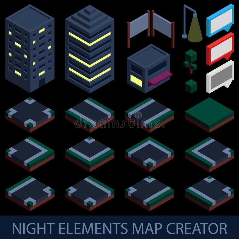 Isometrisk skapare för nattbeståndsdelöversikt royaltyfri illustrationer