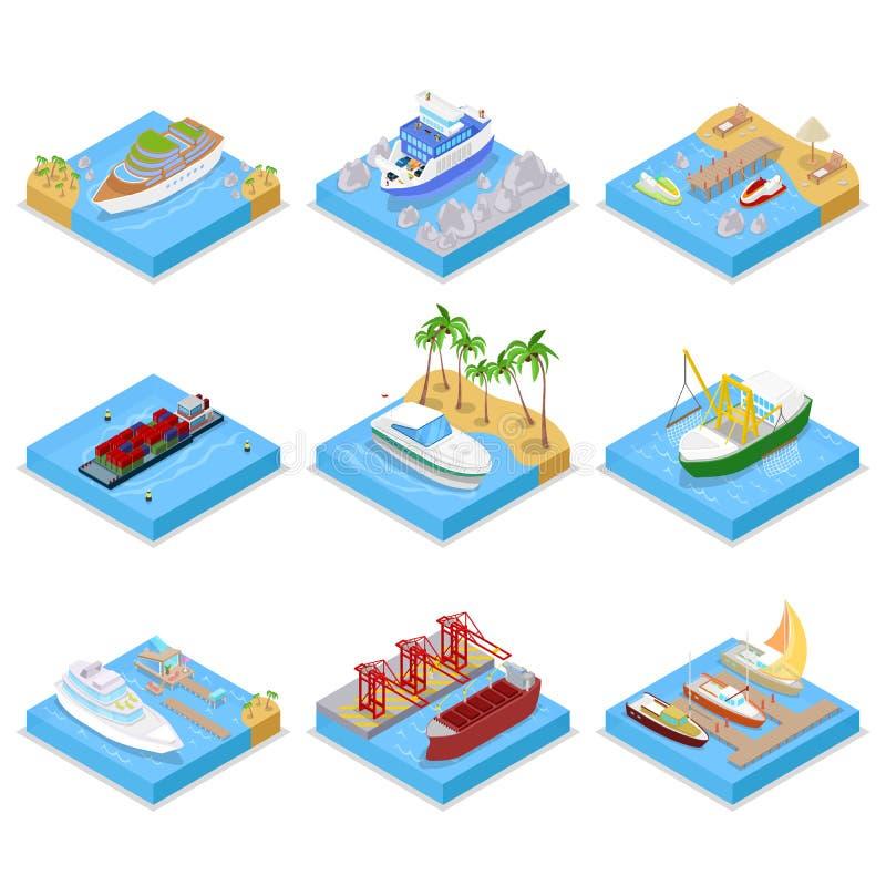 Isometrisk skepp- och fartyguppsättning med kryssning och det industriella skeppet Segling och sändnings royaltyfri illustrationer