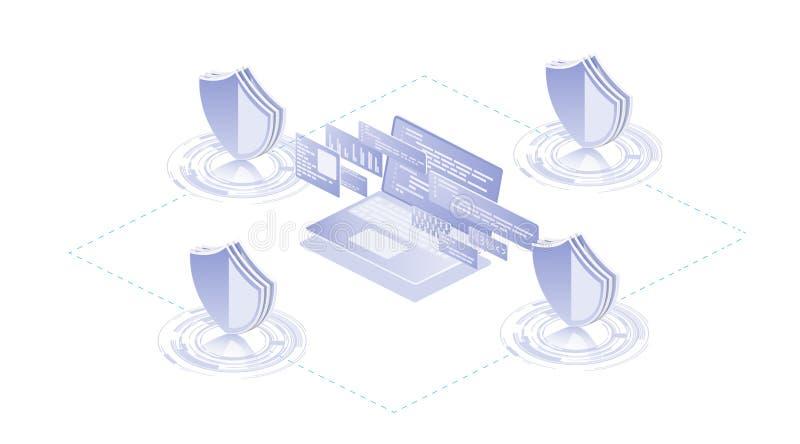 Isometrisk skyddsnätverkssäkerhet och stock illustrationer