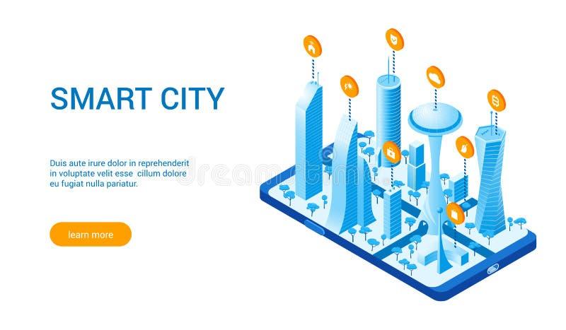 Isometrisk smart cityscape 02 stock illustrationer