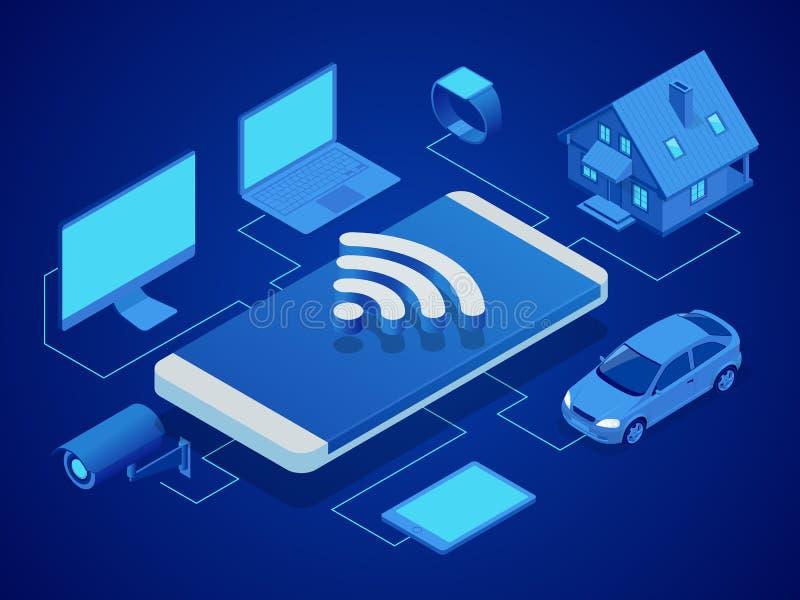 Isometrisk smart teknologi som kontrollerar huset, dator, smart klocka, maskin, video bevakning, minnestavla Säkerhet royaltyfri illustrationer