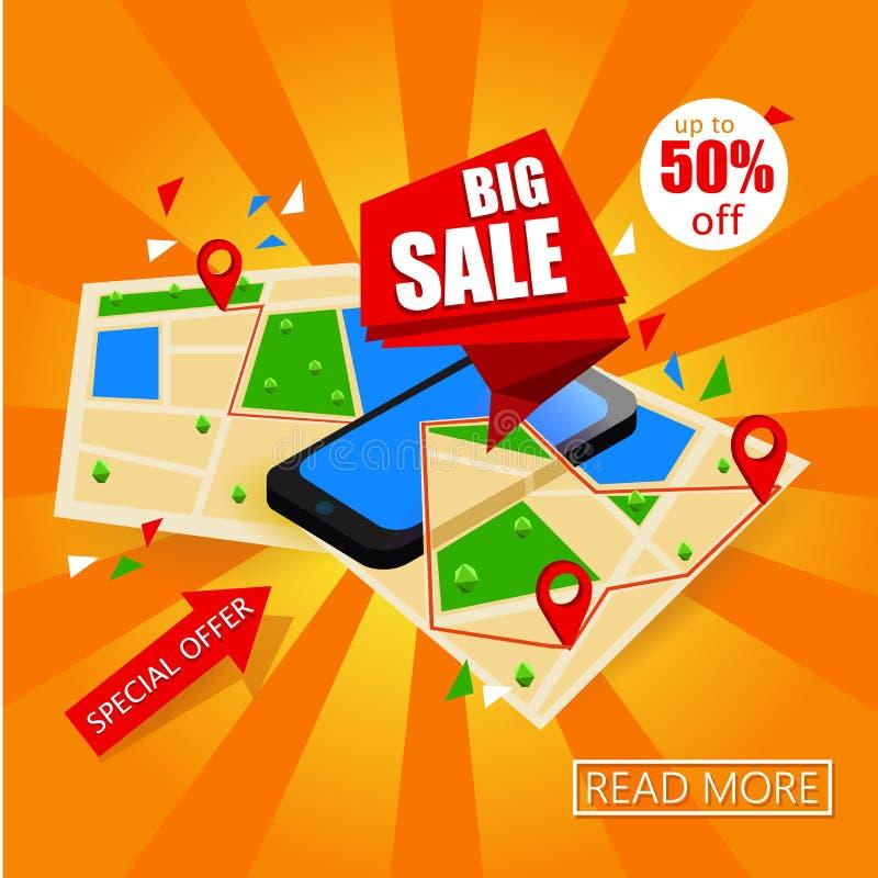 Isometrisk smartphone med översikten och etiketter Online-stor Sale begreppsdesign Översiktsnavigering Mobil marknadsföring och p stock illustrationer