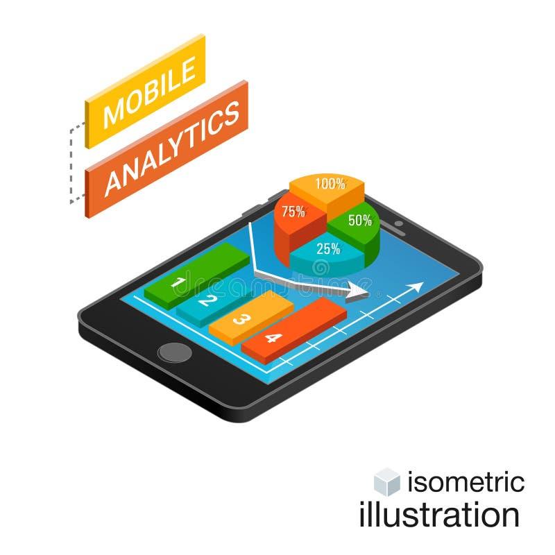 Isometrisk smartphone med grafer på en vit bakgrund Mobilt analyticsbegrepp Isometrisk vektorillustration royaltyfri illustrationer