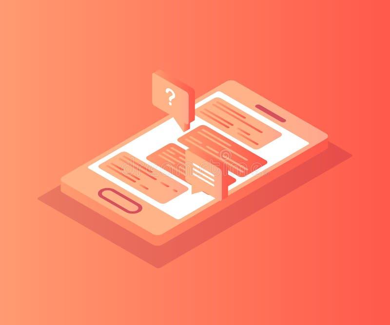 Isometrisk smartphone med pratstund på skärmen vektor illustrationer