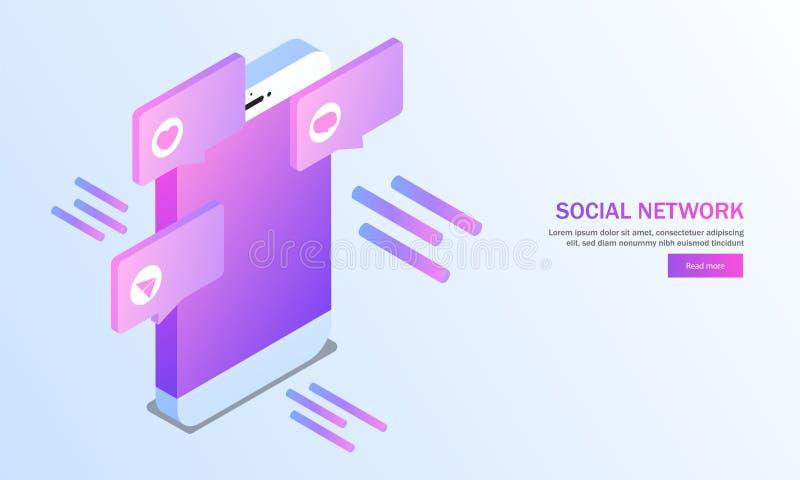 Isometrisk smartphone med sociala massmediaapplikationer på skinande blått stock illustrationer