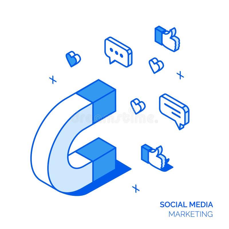Isometrisk social marknadsföringslinje stilbegrepp vektor illustrationer
