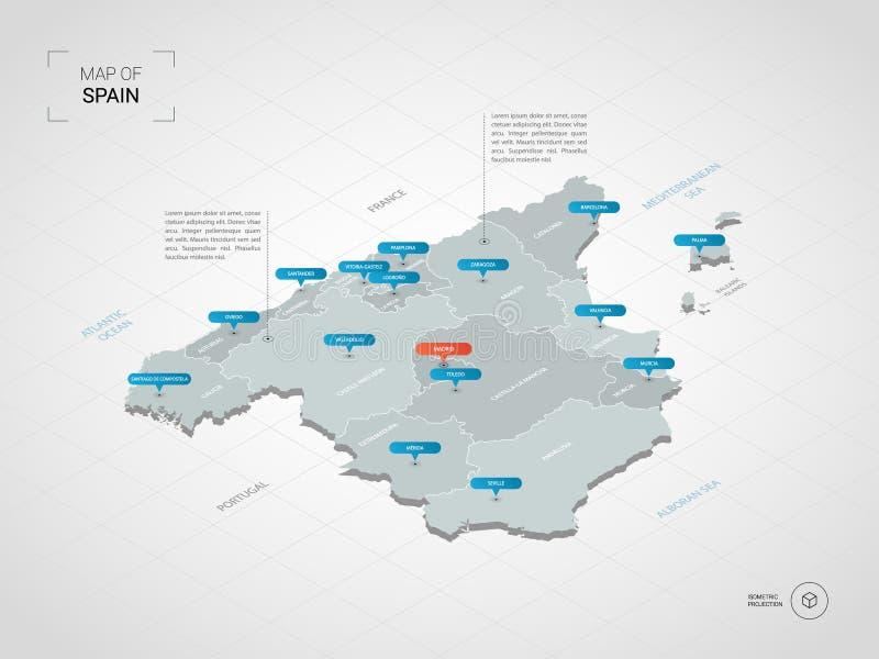 Isometrisk Spanien översikt med stadsnamn och administrativa uppdelningar stock illustrationer