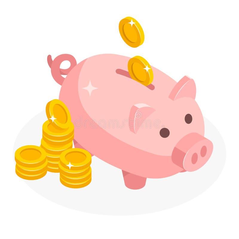 Isometrisk spargris med isolerad myntpengarkassa på vit bakgrund Symbolsspargris i isometrisk stil, begrepp av stock illustrationer