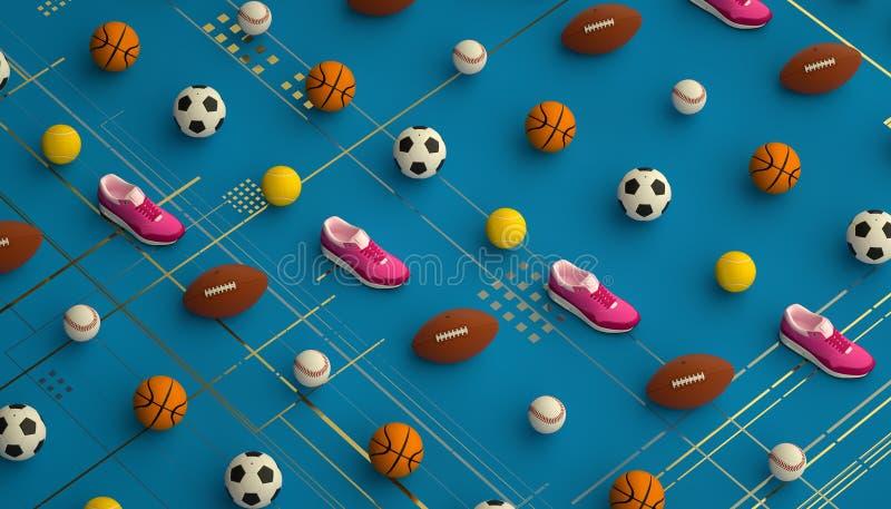 Isometrisk sportkonditionbakgrund som göras av fotboll, fotboll, tennis, baseballbollar och färgrika rinnande gymnastikskor 3d stock illustrationer