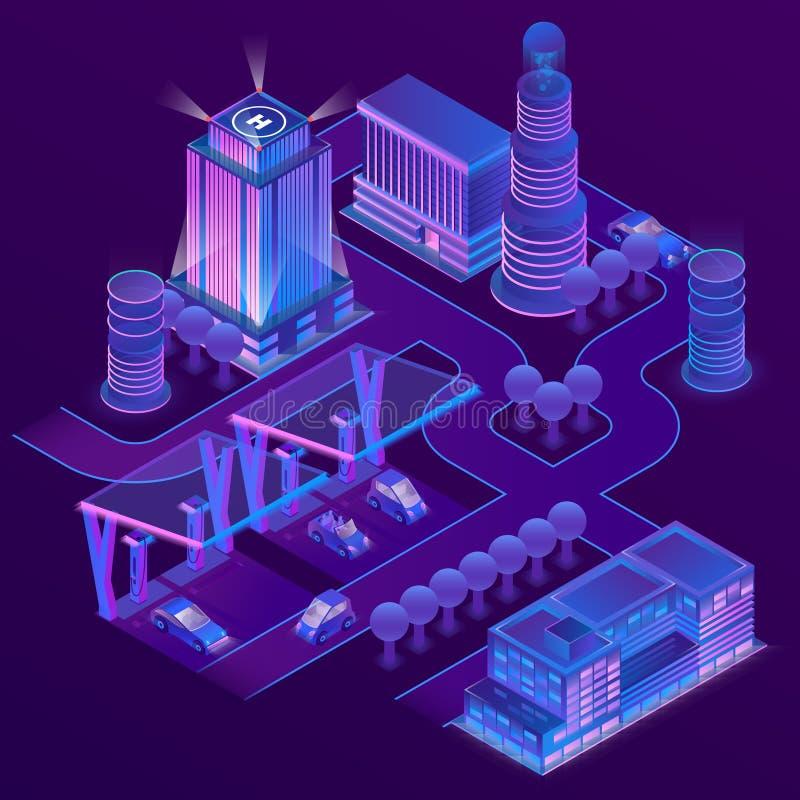 Isometrisk stad för vektor 3d i ultravioletta färger vektor illustrationer