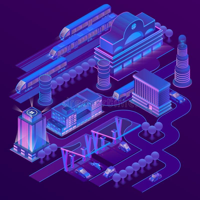 Isometrisk stad för vektor i ultravioletta färger royaltyfri illustrationer
