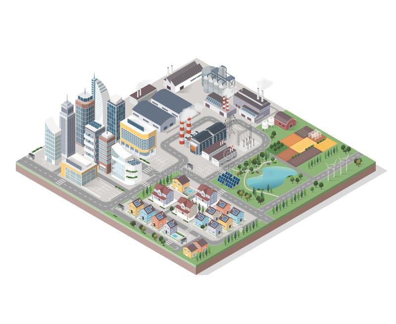 Isometrisk stad för vektor med byggnader vektor illustrationer