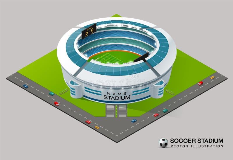 Isometrisk stadion för fotbollfotbollfält royaltyfri illustrationer