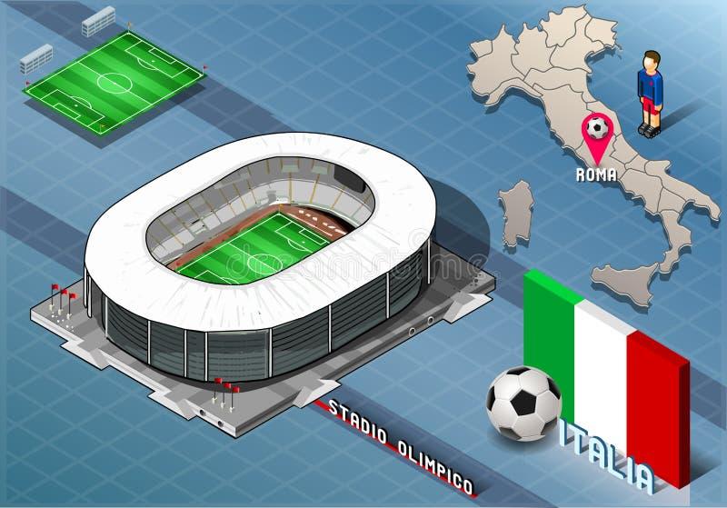 Isometrisk stadion, Olimpico, Rome, Italien vektor illustrationer