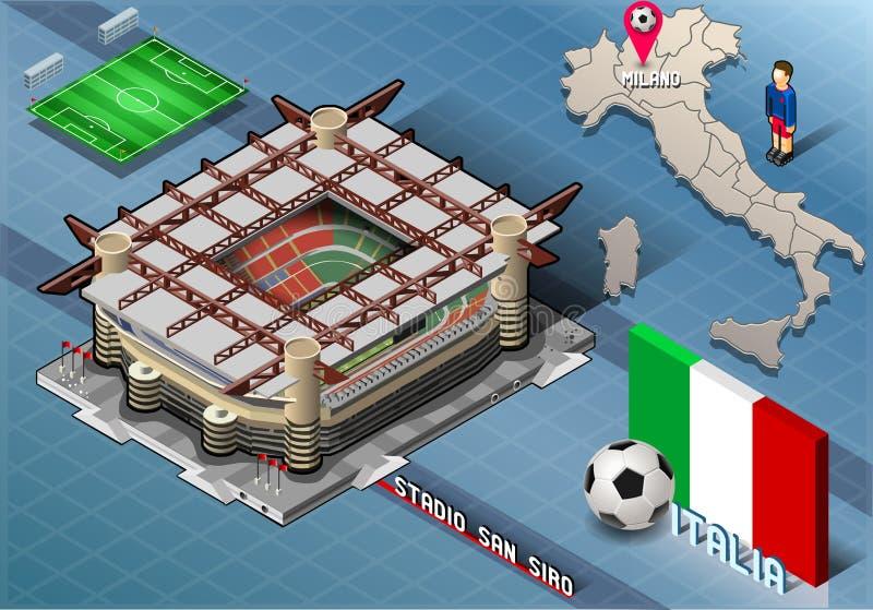 Isometrisk stadion, San Siro, Milan, Italien royaltyfri illustrationer