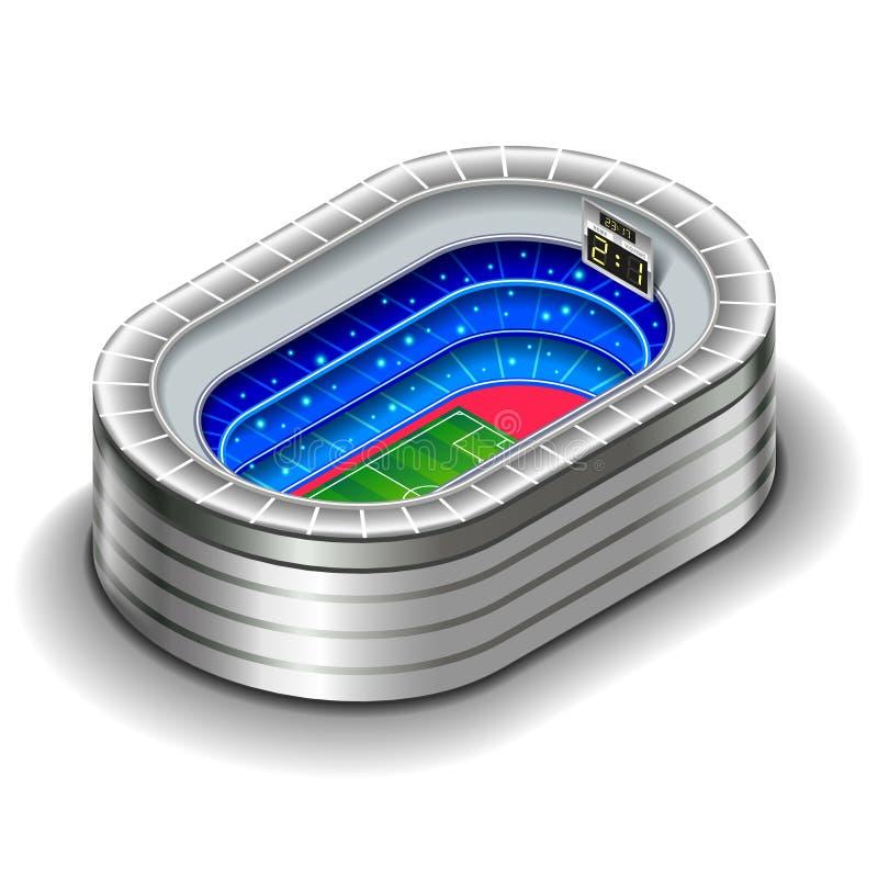 Isometrisk stadion som isoleras på den vita vektorillustrationen stock illustrationer