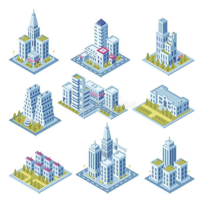 Isometrisk stadsarkitektur, cityscapebyggnad, landskapträdgård och kontorsskyskrapa Byggnader för översikt för gata 3d vektor illustrationer