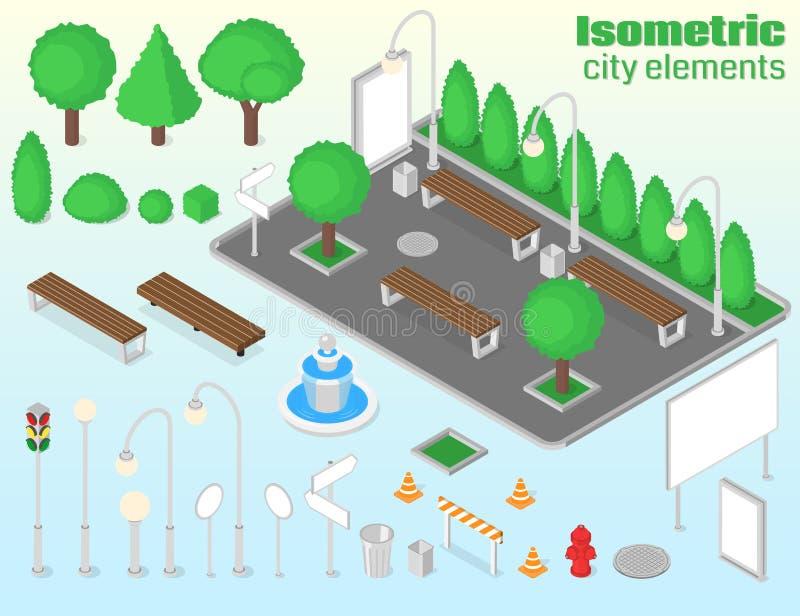 Isometrisk stadsbeståndsdeluppsättning royaltyfri illustrationer