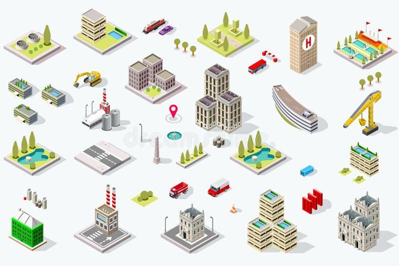 Isometrisk stadsbyggnadsuppsättning vektor illustrationer