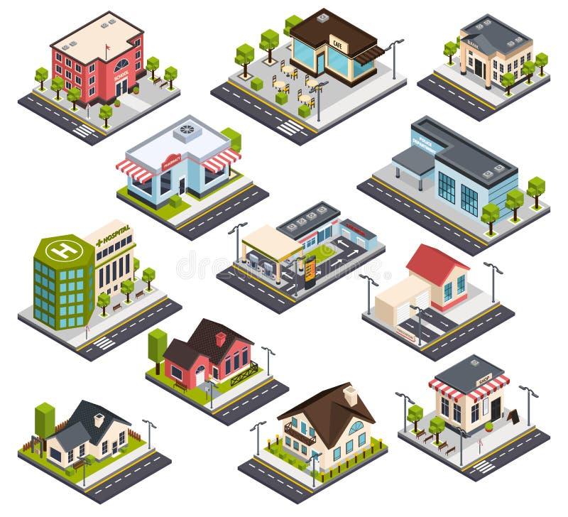 Isometrisk stadsbyggnadsuppsättning stock illustrationer
