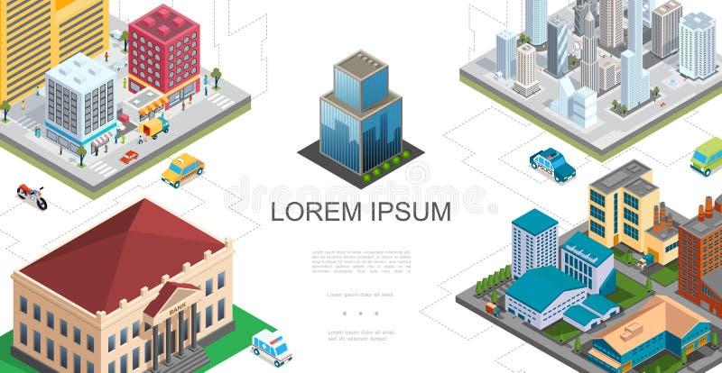 Isometrisk stadslandskapsammansättning royaltyfri illustrationer