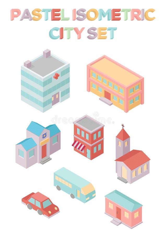 Isometrisk stadsuppsättning vektor illustrationer
