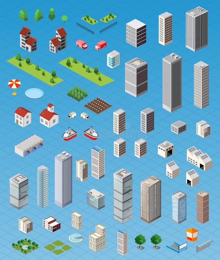 Isometrisk stadsuppsättning stock illustrationer