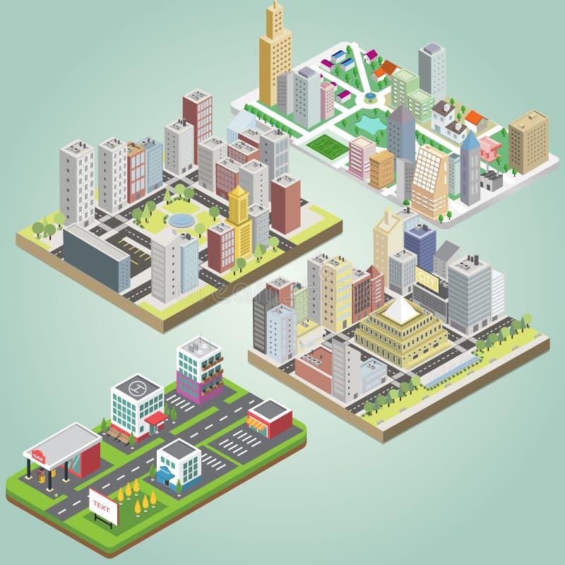 Isometrisk stadsuppsättning royaltyfri illustrationer