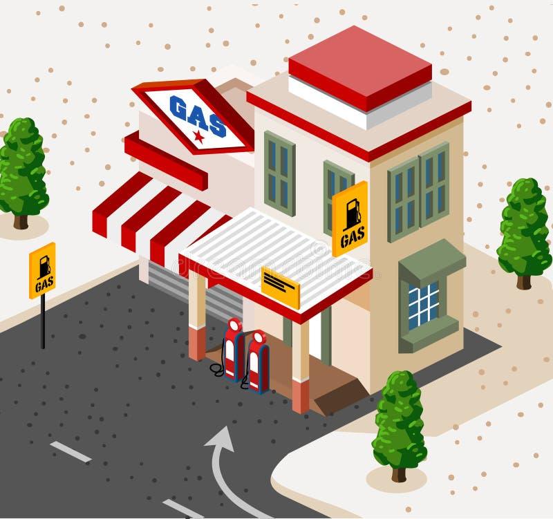 isometrisk station för gas stock illustrationer